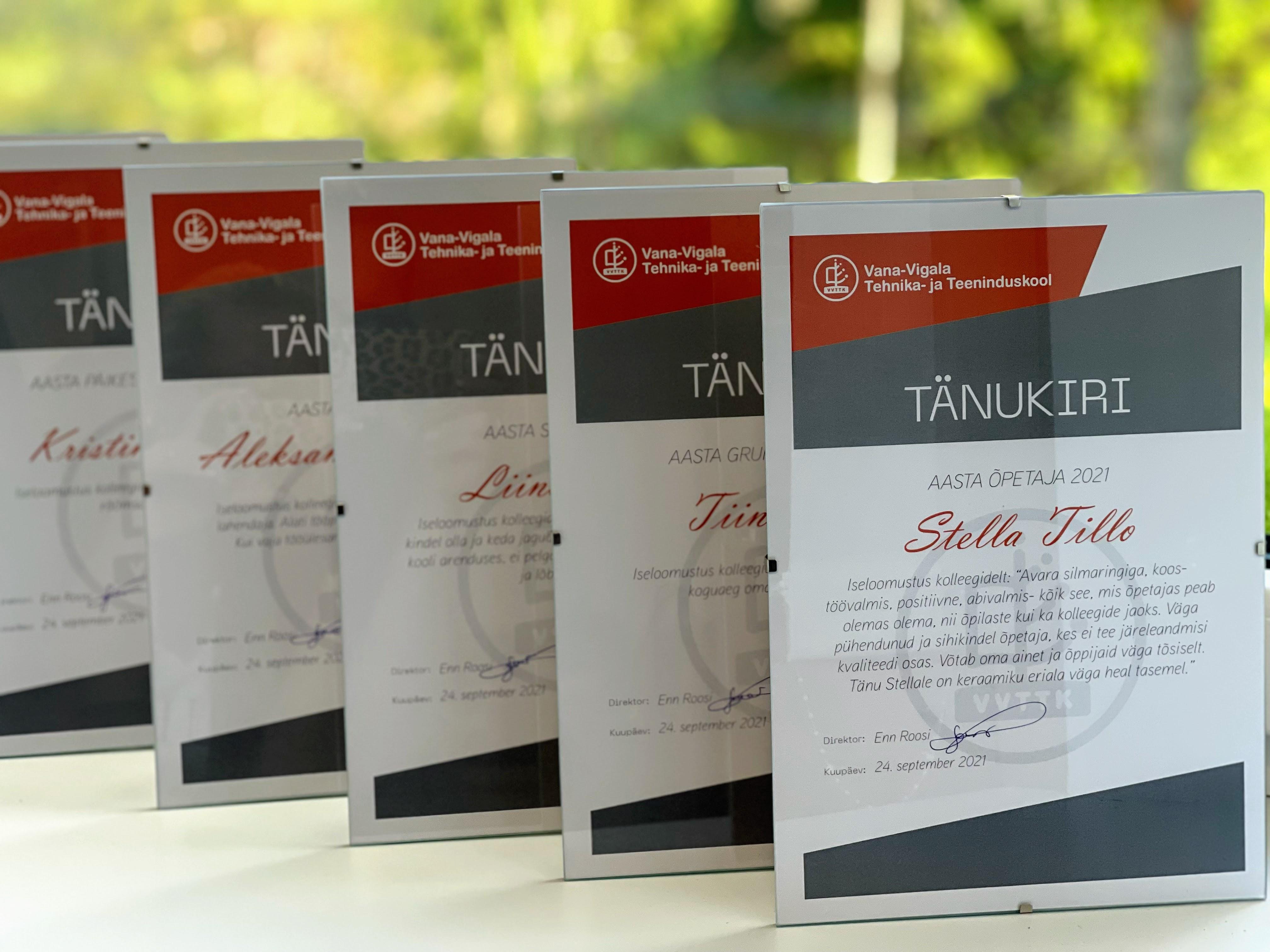Vana-Vigala Tehnika- ja Teeninduskool tunnustab oma töötajaid ja õpilasi igal aastal kooli sünnipäevaaktusel.